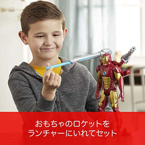 MARVEL Avengers Titan Hero Series Blast Gear Iron Man Action Figure, 12-inch Toy, with Launcher, 2 Accessories and Projectile, Ages 4 and Up