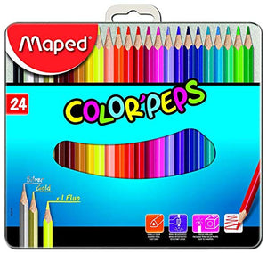 Maped Color'Peps Color Pencil Set - Pack fo 24 with Metal Box(Multicolor)