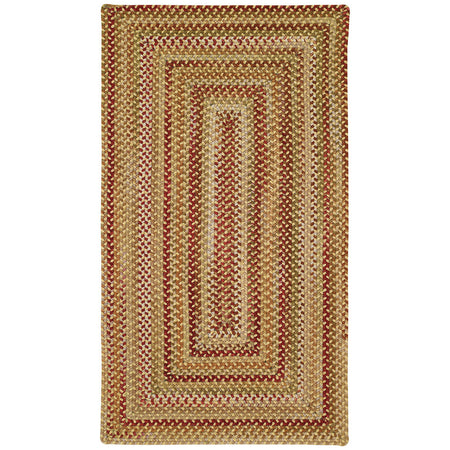 concentric rectangle braided gold, red, and green rug