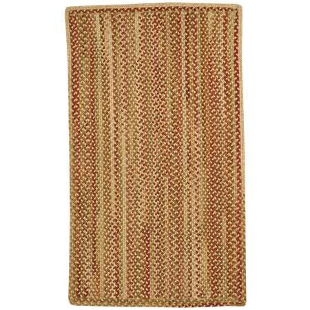 vertical stripe rectangular braided gold, red, and green rug