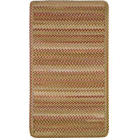 cross-sewn rectangular braided gold, red, and green rug