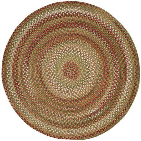 circular braided gold, red, and green rug