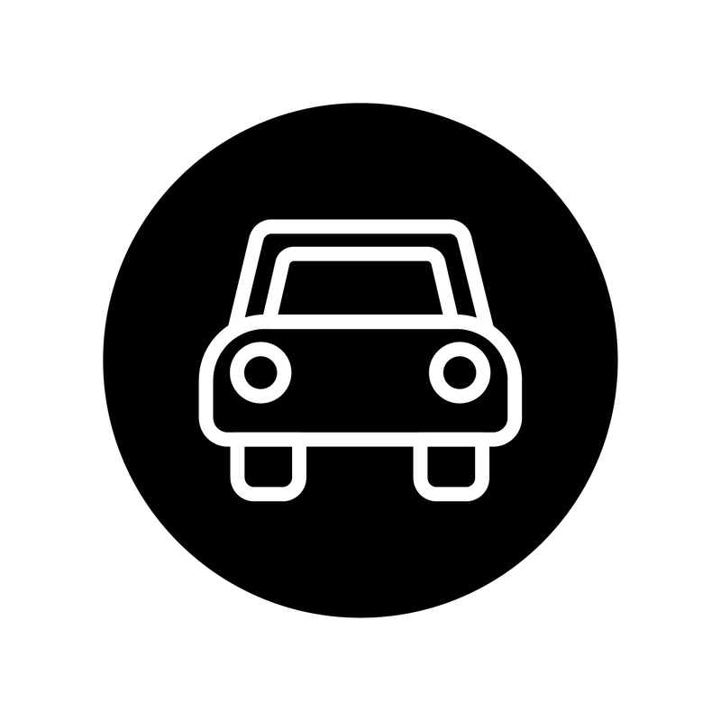 curbside pickup icon with front view of a car