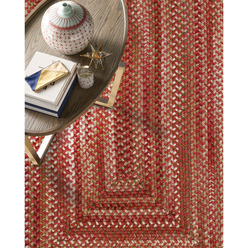 Homecoming Rosewood Red Braided Rug Concentric Roomshot image