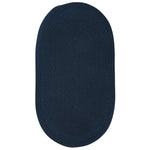 Heathered Pinwheel Navy Blue Solid Braided Rug Oval image