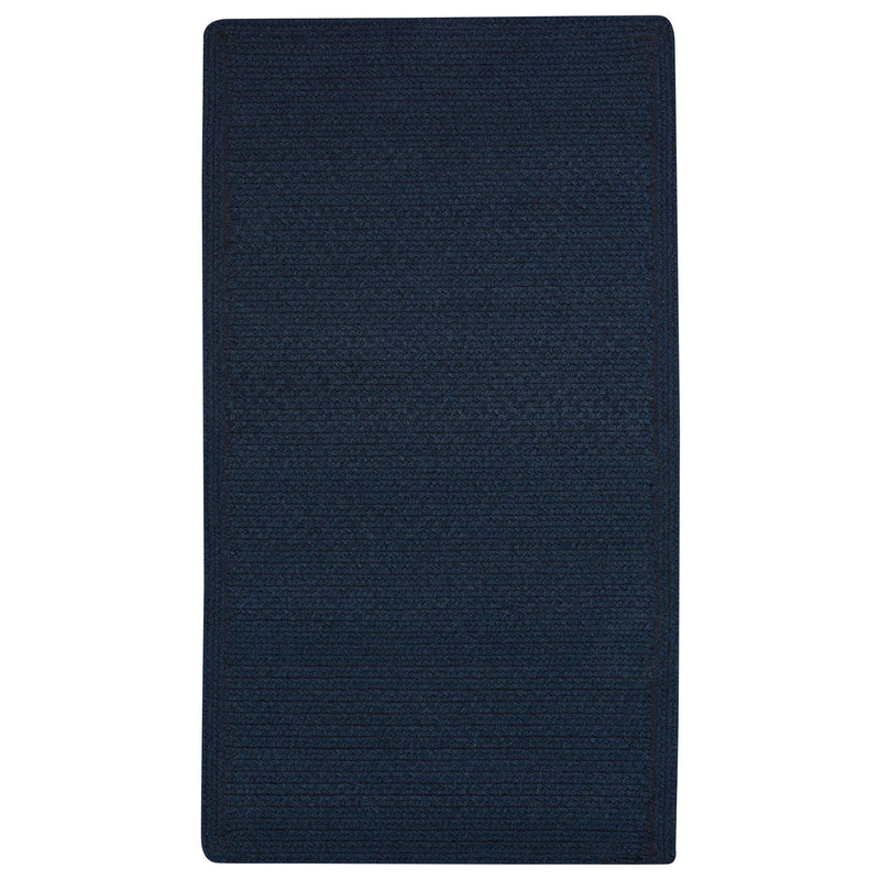 Heathered Pinwheel Navy Blue Solid Braided Rug Cross-Sewn image