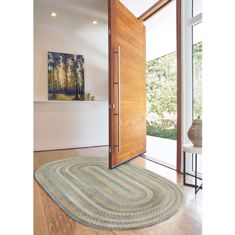Synergy Blue Opal Braided Rug Oval Roomshot image