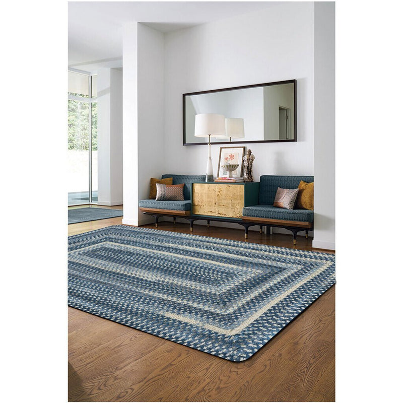 Synergy Chambray Braided Rug Concentric Roomshot image