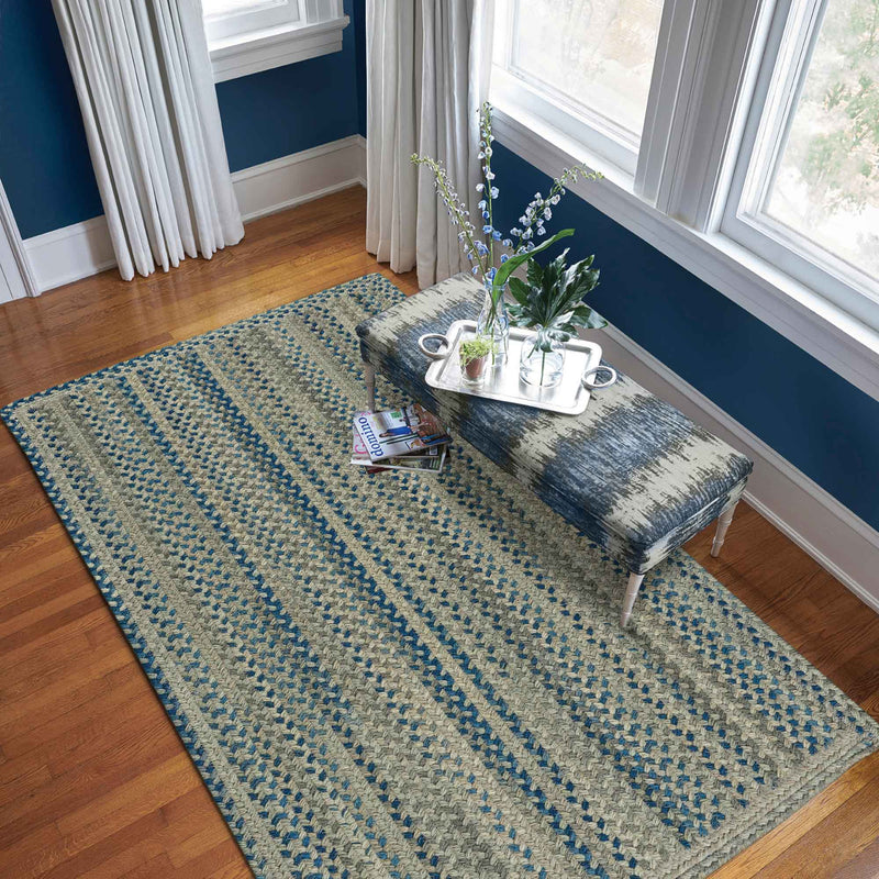 Fusion Blue Taupe Braided Rug Rectangle Roomshot image