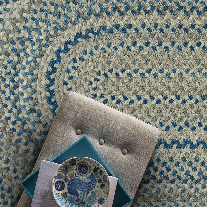 Fusion Blue Taupe Braided Rug Oval Roomshot image