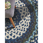 Wanderer Deep Blue Braided Rug Round Roomshot image
