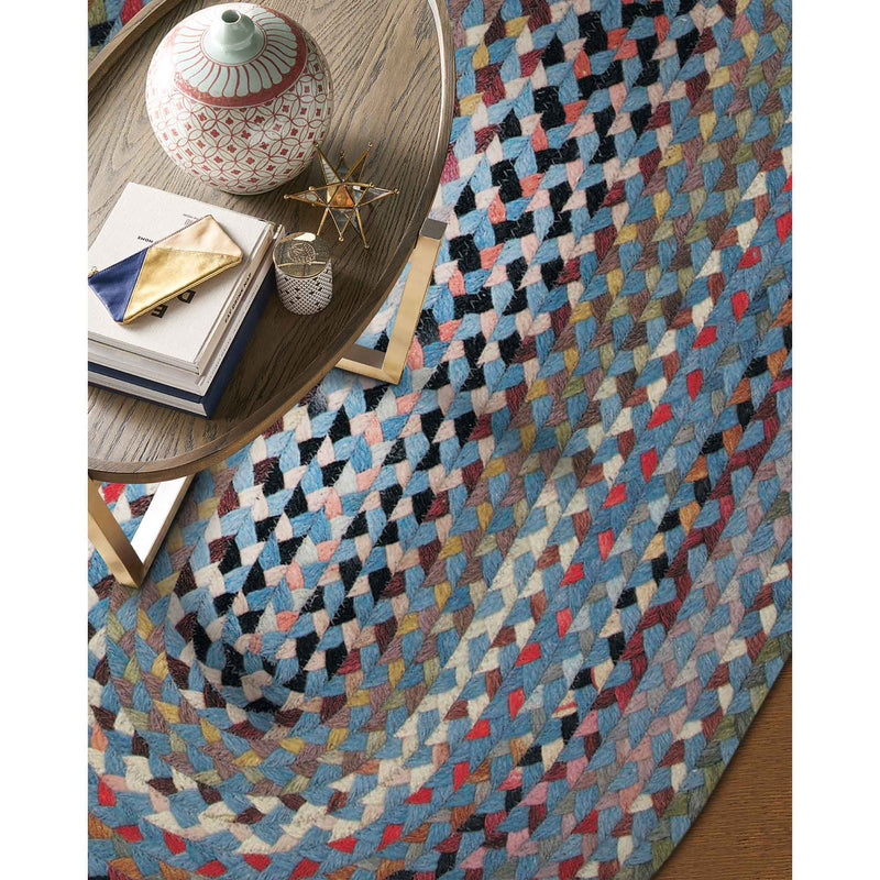 Plymouth Colony Blue Braided Rug Oval Roomshot image