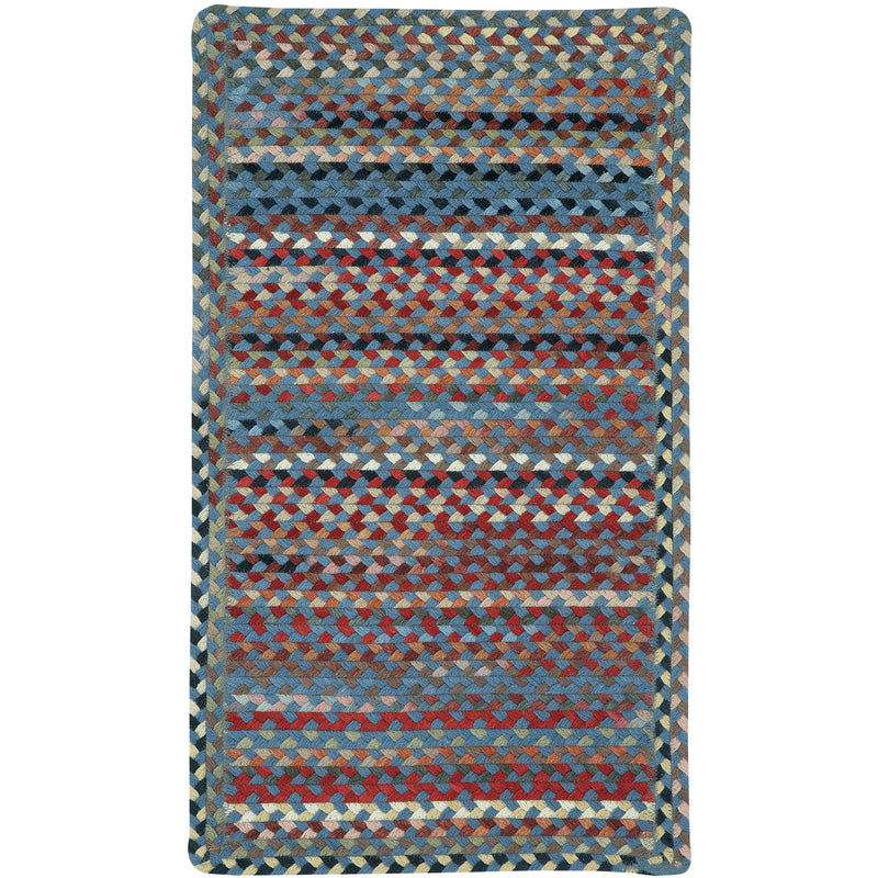 Plymouth Colony Blue Braided Rug Cross-Sewn image