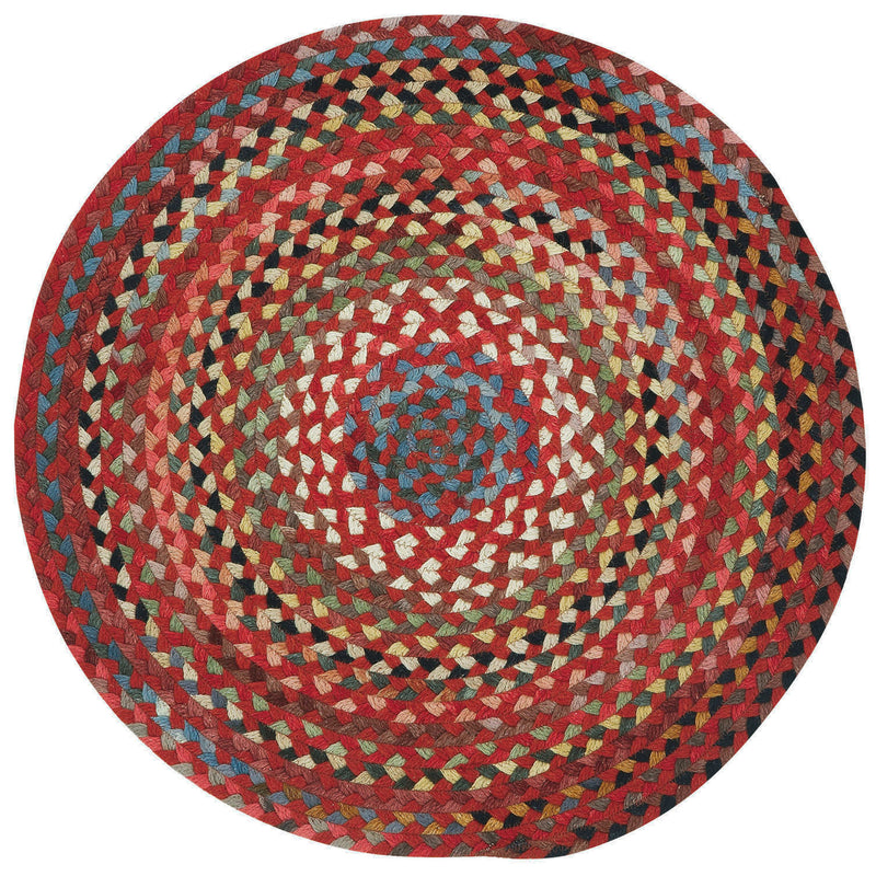 Plymouth Country Red Braided Rug Round image
