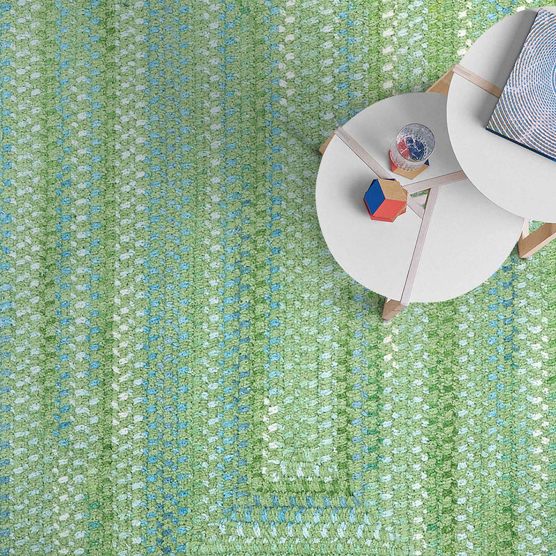 Sailor Boy Sea Monster Green Braided Rug Concentric Roomshot image