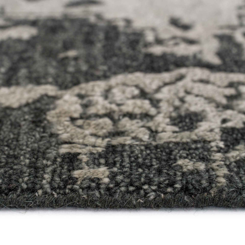 Makrana Charcoal Hand Knotted Rug Rectangle Cross Section image