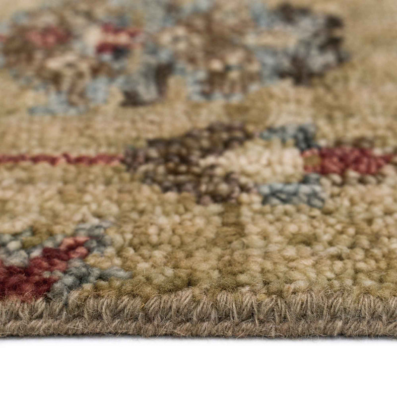 Charise-Keshan Champagne Hand Knotted Rug Rectangle Cross Section image