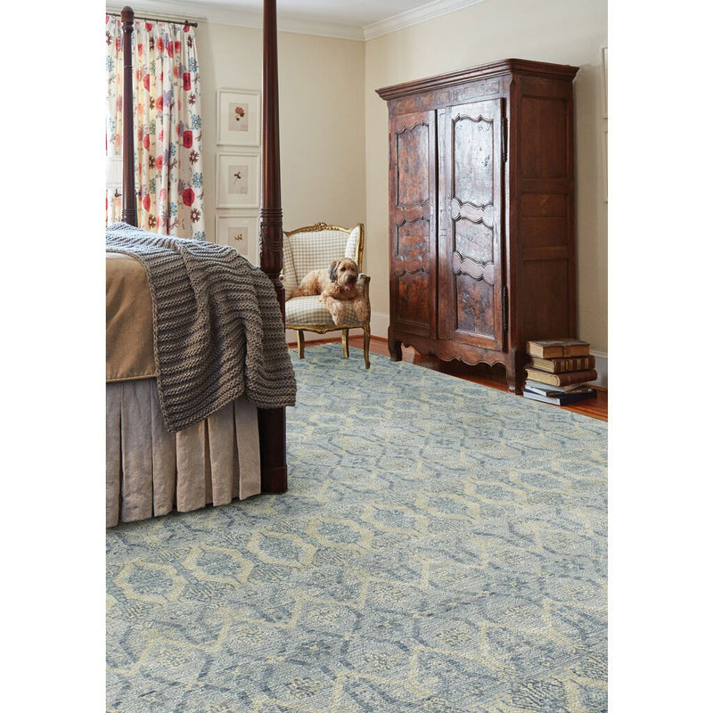 Siam-Temple Lt. Blue Hand Knotted Rug Rectangle image