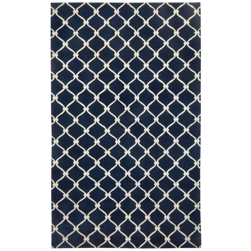 Fence Navy Ivory Hand Knotted Rug Rectangle image