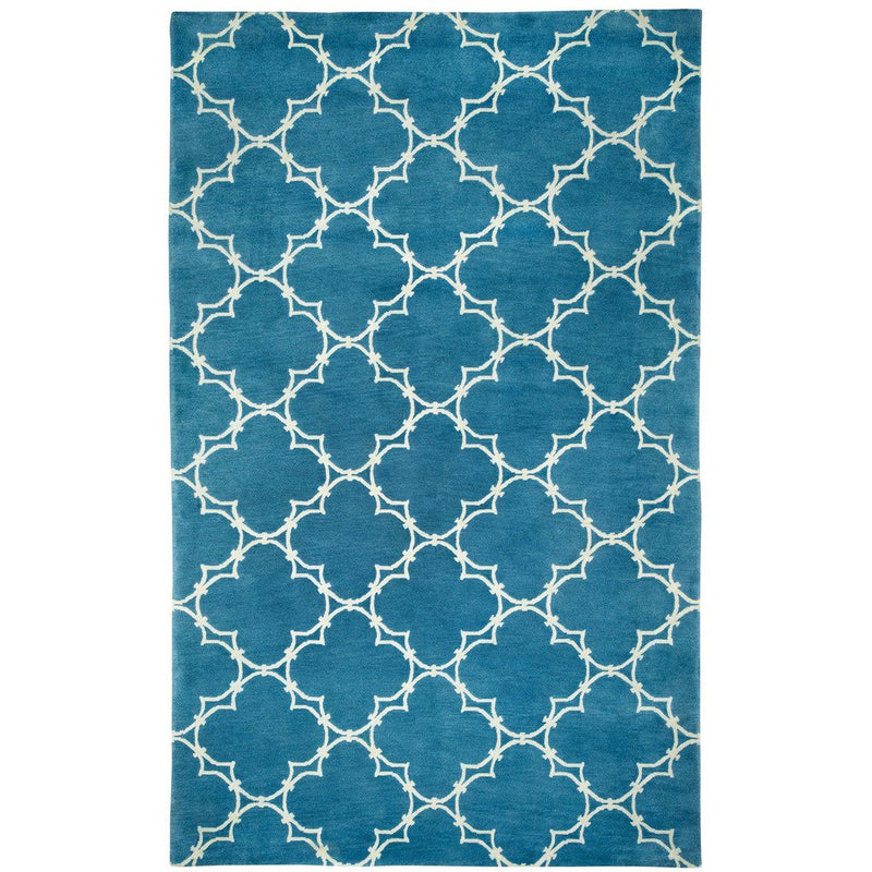 Quatrefoil Peacock Hand Knotted Rug Rectangle image