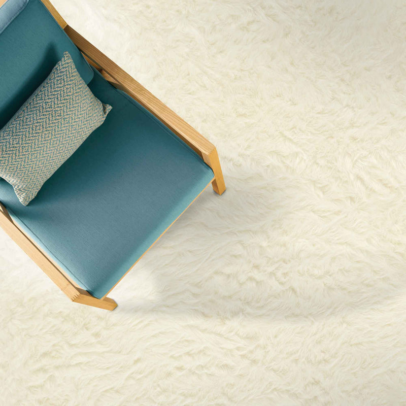Luxe Shag Ivory Machine Woven Rug Rectangle Roomshot image