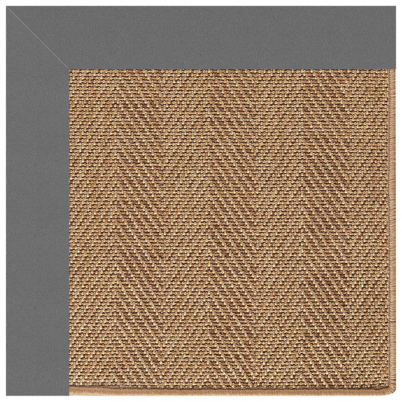 Islamorada-Herringbone Canvas Charcoal Indoor/Outdoor Bordere Rectangle Corner image