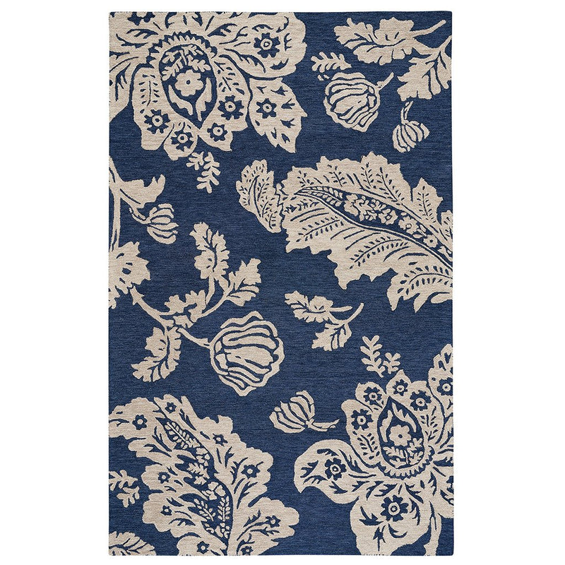 Everard Damask Navy Hand Tufted Rug Rectangle image