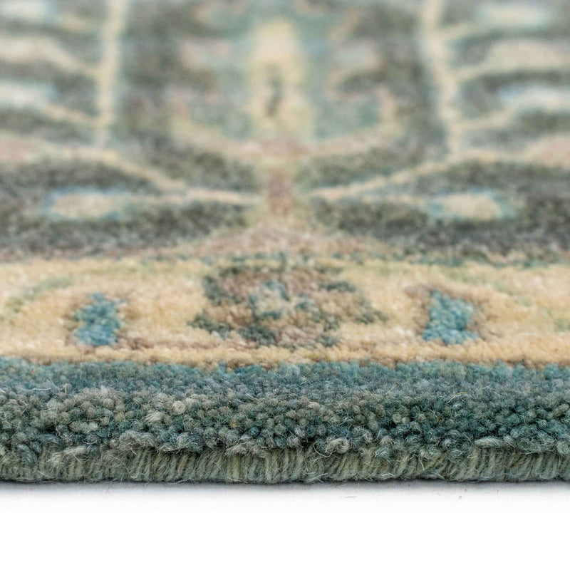 Izmir-Persian Cedars Dusty Blue Hand Tufted Rug Rectangle Cross Section image