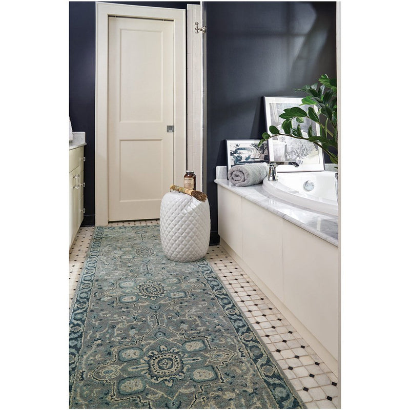 Izmir-Serapi Grey Blue Hand Tufted Rug Rectangle Roomshot image
