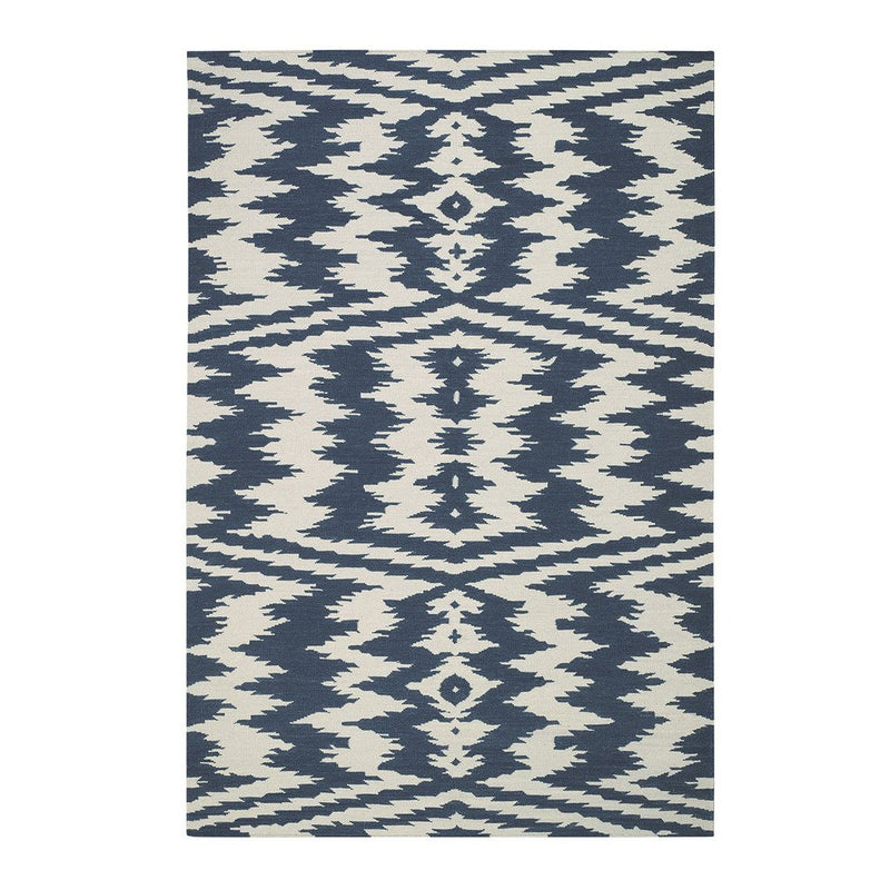Uzbek Bokrum Blue Flat Woven Rug Rectangle image