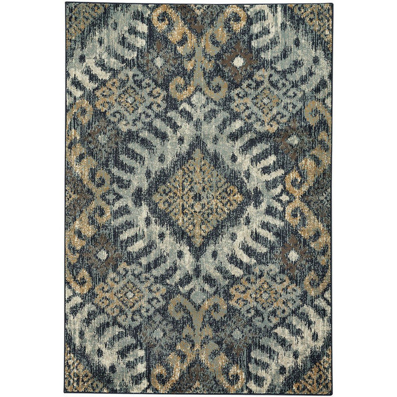 Beckett-Diamond Blue Gold Machine Woven Rug Rectangle image