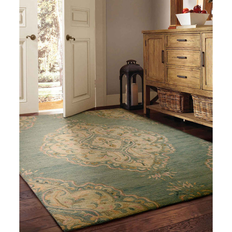 Athena-Medallion Lt. Blue Hand Tufted Rug Rectangle Roomshot image