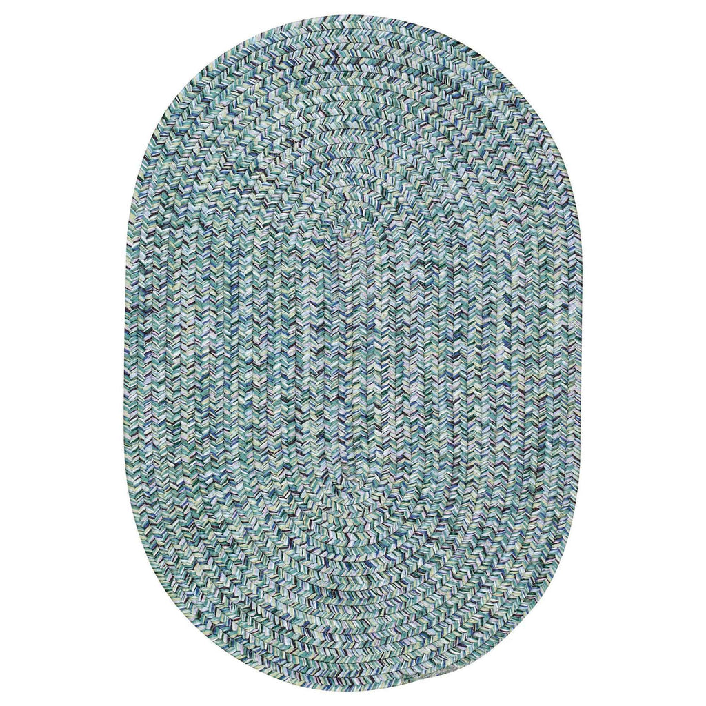 Sea Glass Ocean Blue Braided Rug Oval image