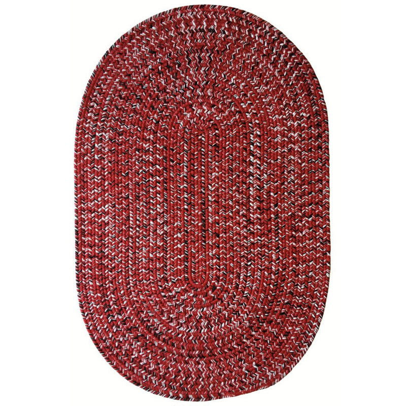 Team Spirit Red Black Braided Rug Oval image