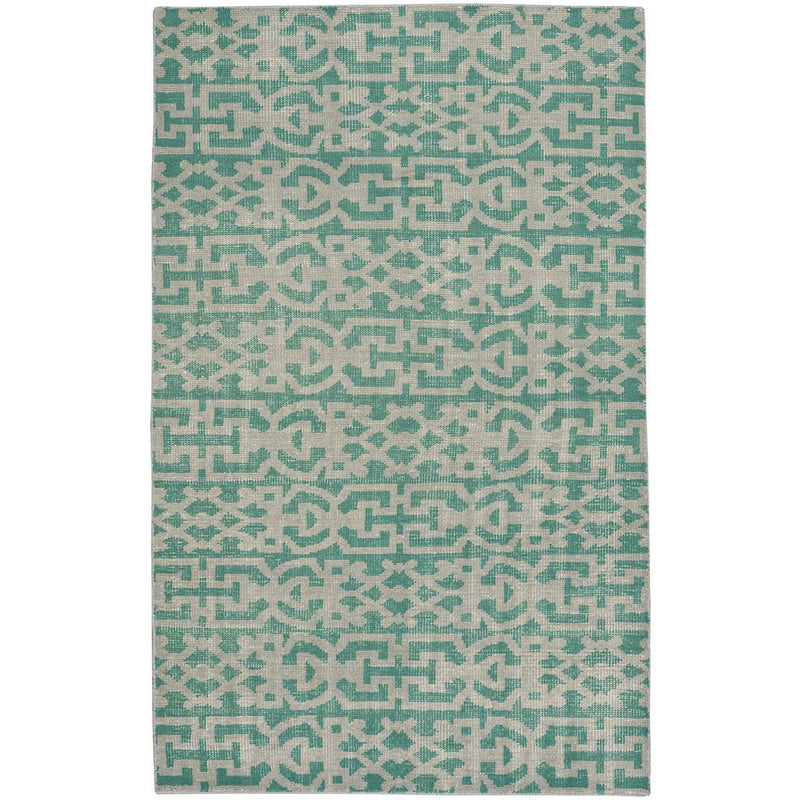 Vintage-Keeneland Green Hand Knotted Rug Rectangle image