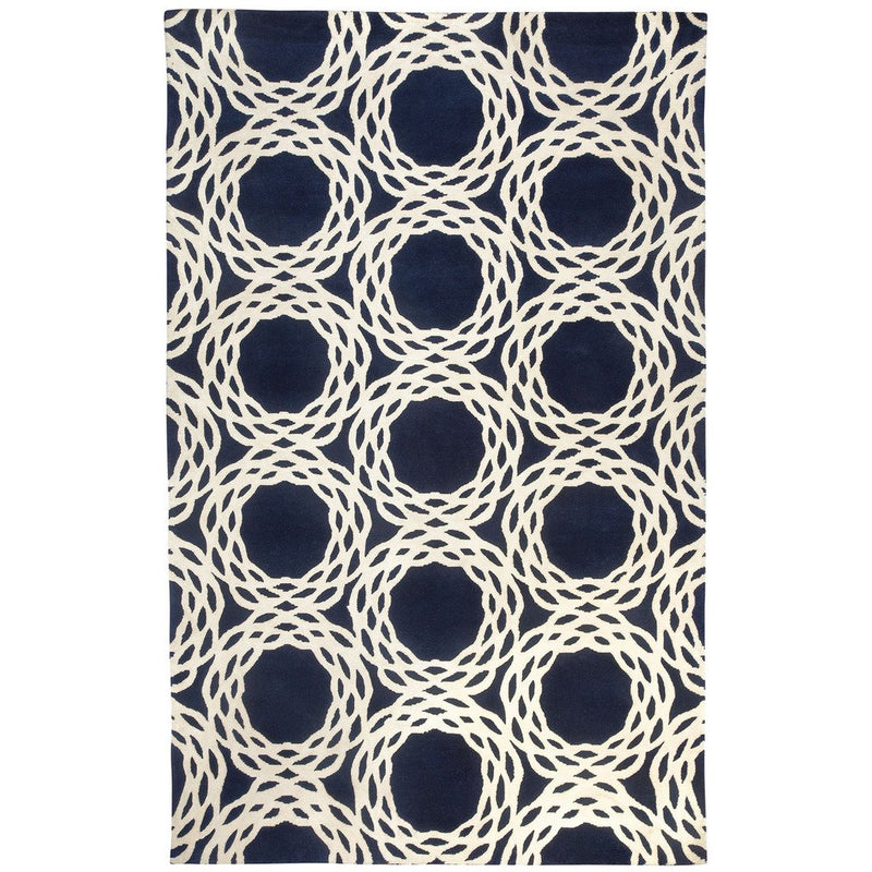 Oxford Navy Hand Knotted Rug Rectangle image