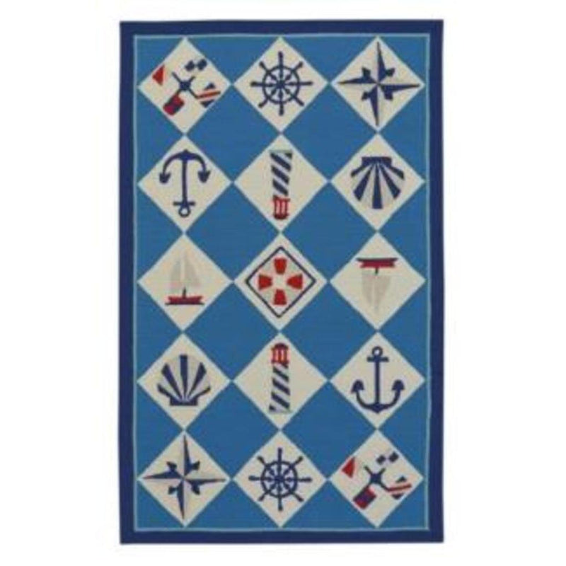 Nautical Grid Ocean Blue Loop Hooked Rug Rectangle image