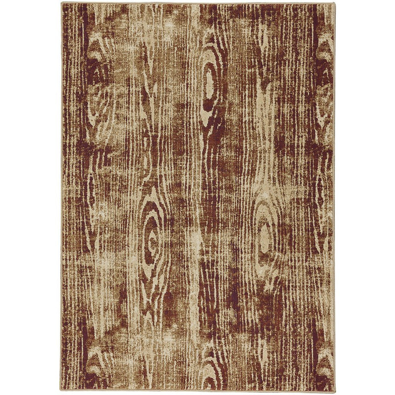 Woodgrain Gold Machine Woven Rug Rectangle image