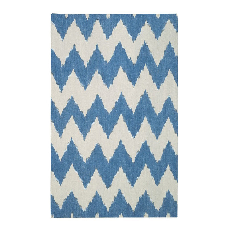Wild Chev Grecian Blue Flat Woven Rug Rectangle image