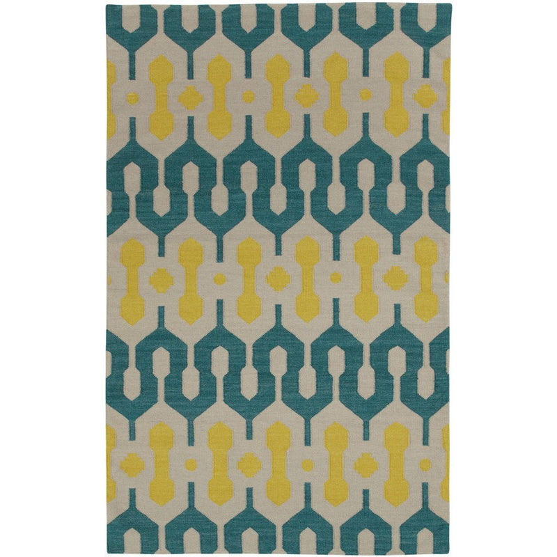L'Alhambra Turquoise Leo Sun Flat Woven Rug Rectangle image