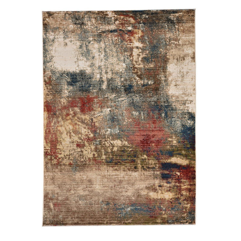 Landis-Abstract Blue Multi Machine Woven Rug Rectangle image