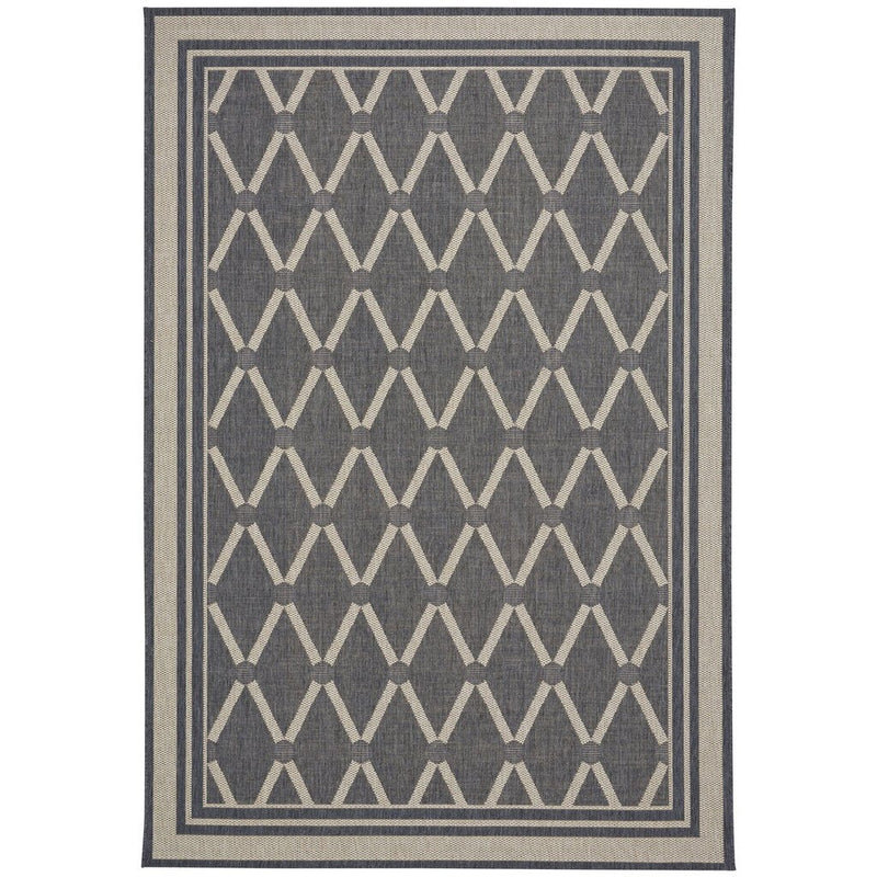 Finesse-Lattice Charcoal Machine Woven Rug Rectangle image