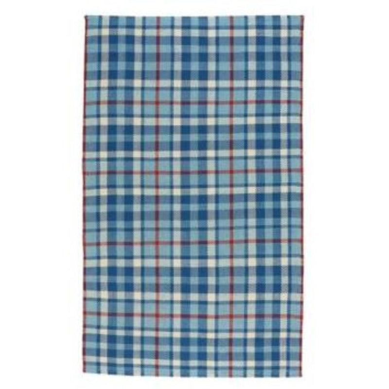 Beach Club Plaid Colonial Blue Flat Woven Rug Rectangle image