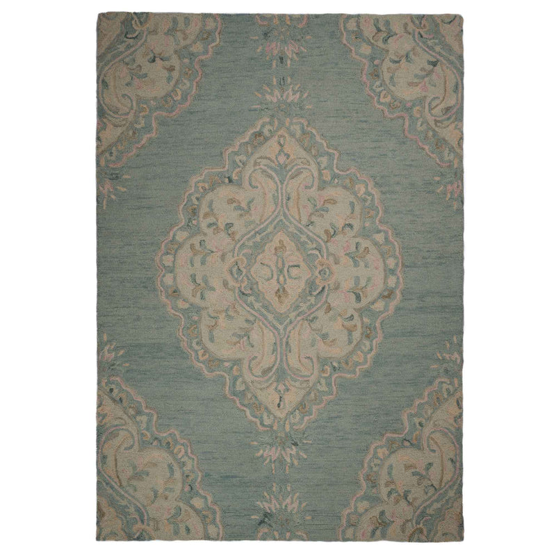 Athena-Medallion Lt. Blue Hand Tufted Rug Rectangle image