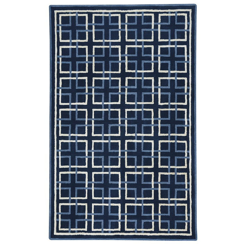 Square Trellis Navy Hand Tufted Rug Rectangle image