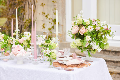 Tablescape showcasing vintage cut glass candle holders and Issy Granger's Esna