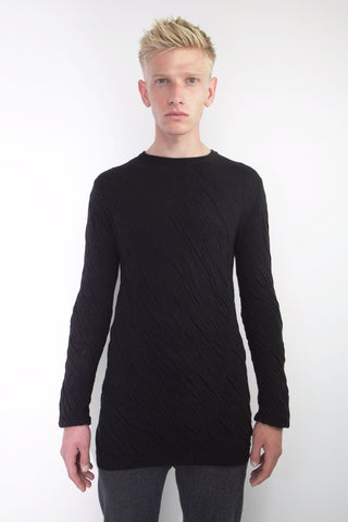 bark effect twisted crew neck sweater