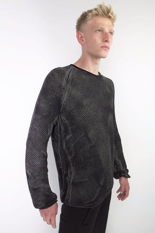 crew neck side panel sweater