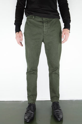 trouser with leather back panel