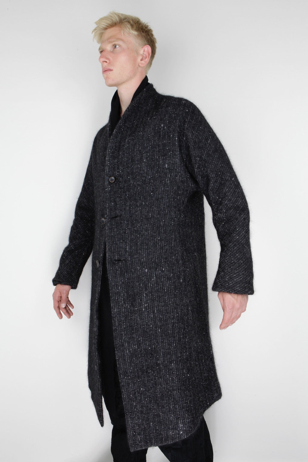 woven stand collar coat